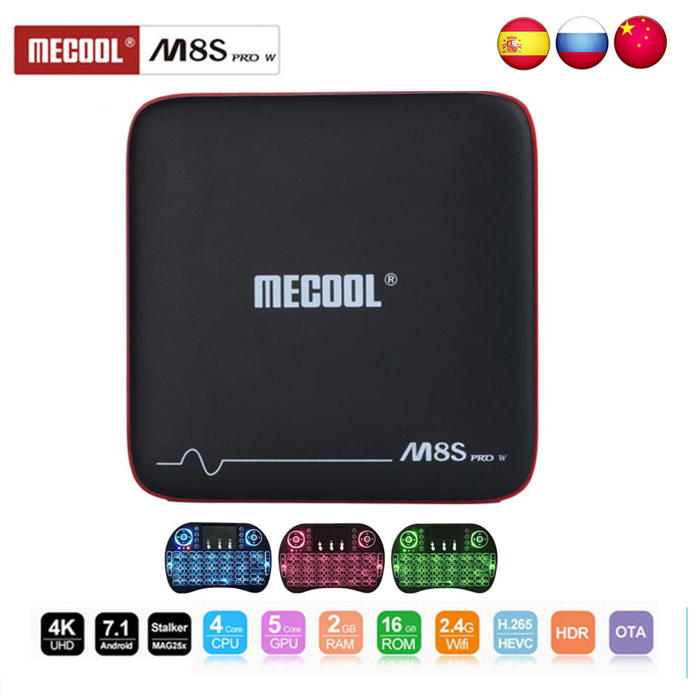 Mecool M8S PRO W TV box Android Smart TV caja de 7,1 a 2,4G Wifi 4 K 2 + 16 GB con Control de voz Amlogic S905W CPU Set Top Box