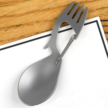 3 in 1 Camping Picnic titanium Spoon Tableware titanium Fork Ultralight pure titanium or Stainless steel Spork цена 2017