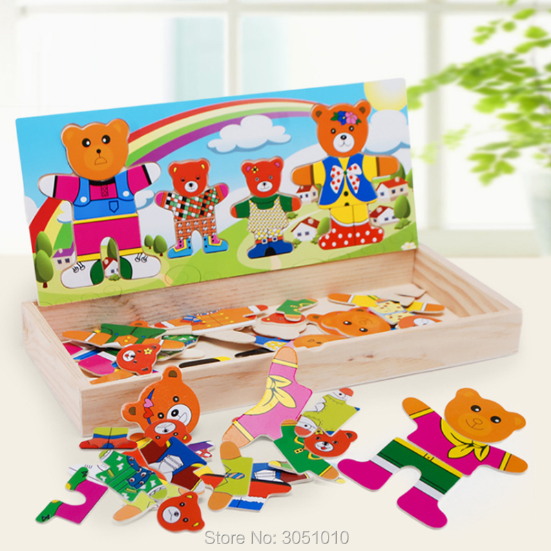 Drop Shipping 1 Set Wooden Puzzle Set Baby Educational Toys Bear Changing Clothes Puzzles Kids Children's Wooden Toy