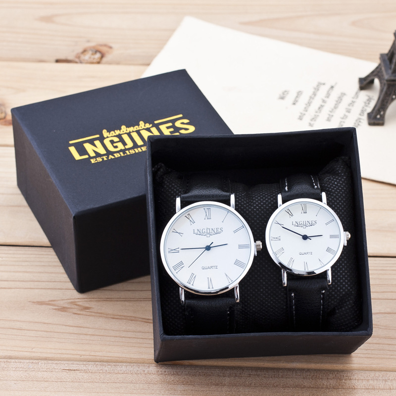 Fashion Lovers Watches High Gloss Glass Leather Belt Watch Contains Box Men Women Watches 2pcs Couple Watch Set Bayan Kol Saati
