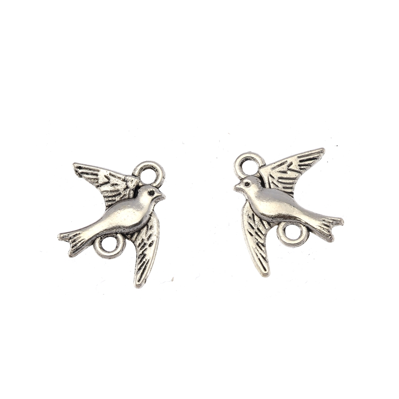 Wholesale Charms 15pcs Tibetan Silver Alloy Swallows Bird Jewelry Findings & Components DIY Jewelry Accessories 22X18mm S8227