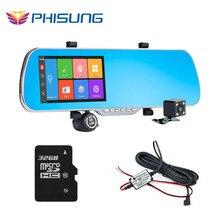 Phisung q7 araba kamera dvr + 5 inç android gps navigasyon çift lens dikiz aynası video kaydedici dash kamera + ram 1 gb + ücretsiz 32 gb kart