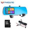 Phisung q7 câmera do carro dvr + 5 polegada android gps de navegação espelho retrovisor de lente dupla gravador de vídeo traço cam + ram de 1 gb + free 32 gb cartão