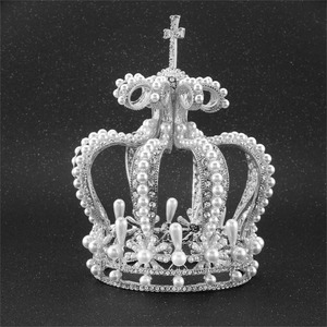 Image 2 - Big Crown Crystal With Pearl Tiaras and Crowns Wedding Crown Bride Womens Head Band Vintage Baroque Royal HairBand Accessories
