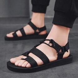 Homens sandálias 2019 verão homens preto praia sandálias de alta qualidade verão plana sandalias para hombre plus size 39-45