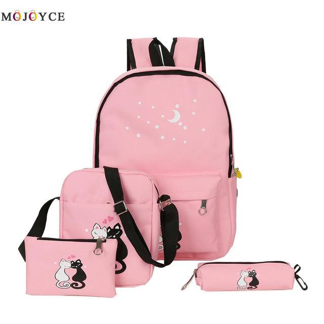 4 Pcs set Women Backpack Teenage Girls Cute Cat Ladies Casual Canvas School  Backpack Mochila Feminina 9a9290564ba7d