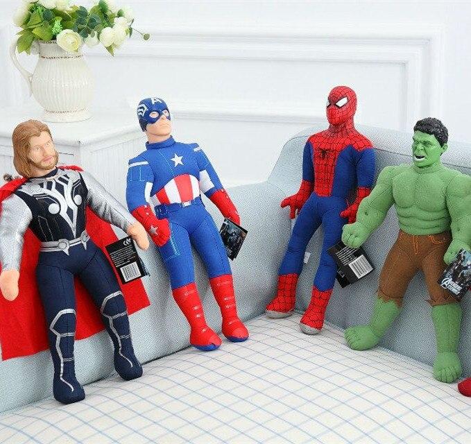 2016 Hot Plush Toys The Avengers 2 Toys Thor Captain America Spider Man Hulk Iron Man Home Car Decoration Kid Birthday Gift 1pcs 13 incredible hulk smash hands or spider man plush gloves performing props toys set of 2pcs
