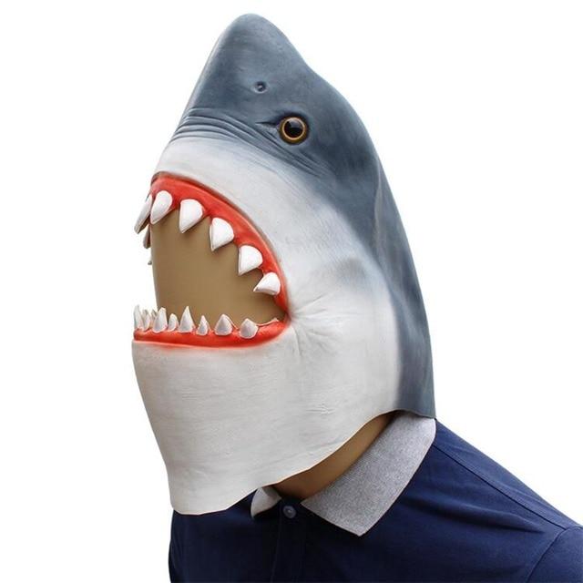 faa9c4c125b Shark mask latex animal face masks halloween adult costume carnival cosplay  masquerade party mask full helmet