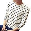 Camiseta Homens Tarja clássico 2016 Nova Moda Manga Longa Ocasional Camisas de T Dos Homens De Alta Qualidade Slim Fit Algodão Camiseta Tops Tees 4XL
