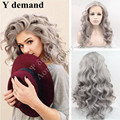 Silver Grey Hair Long Curly Hairstyle White Gray Color perruque synthetic women Hair Body Deep Wave Synthetic Lace Front Wigs