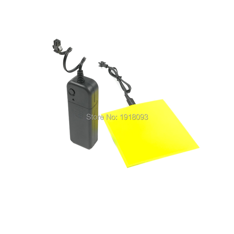 Yellow 10*10cm EL Panel EL Sheet Powered By 2-AA Batteries EL Glowing Product Novelty Lighting With DC-3V Steady On Inverter