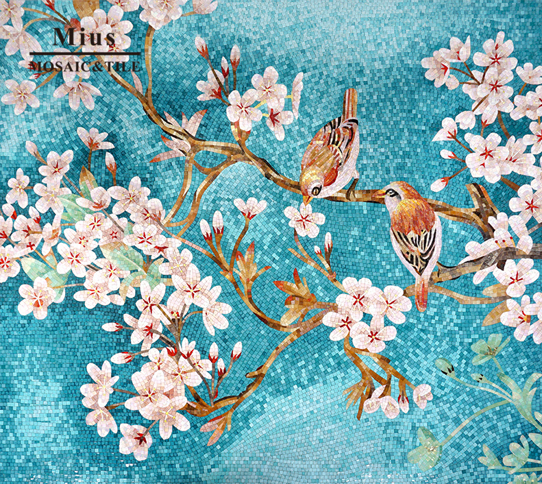Italian style pink flowers and blue  birds glass mosaic tile mural design for lifelike wall decorateItalian style pink flowers and blue  birds glass mosaic tile mural design for lifelike wall decorate