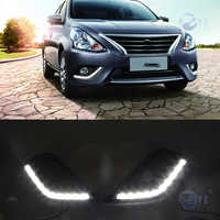 1Pair DRL For Nissan Sunny Versa Almera Latio 2014 2015 2016 2017 2018 Daytime Running Lights fog lamp cover 12V Daylight