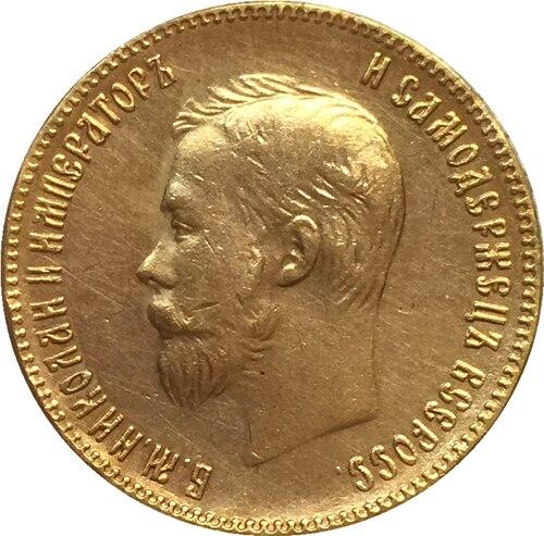 24-K mạ Vàng 1901 nga 10 Roubles gold Coin copy