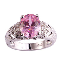 lingmei Wholesale New Popular Pink Sapphire & White Topaz 925 Silver Ring Gift Jewelry Women Size 6 7 8 9 10 11 12 Free Shipping