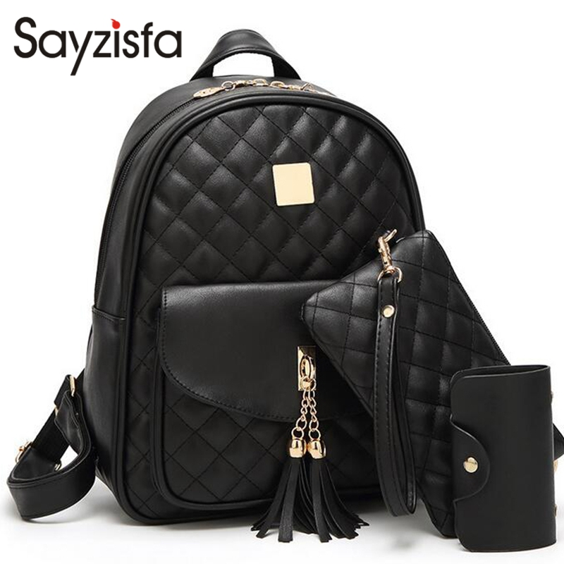 Sayzisfa New 2017 Women Backpack Leather Ladies Shoulder Bags Girls school book bag black Backpacks Mochila Bagpack 3 sets T352 new brand designer women fashion backpacks simple koran style school for teenager girls ladies shoulder bags black