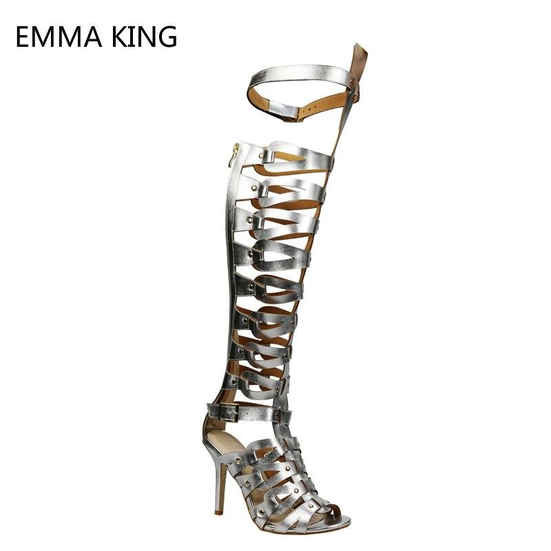 Классические дамские туфли в панковском стиле Пряжка Сандалии гладиаторы Для женщин полая заклепка сексуальные тонкие очень высокий каблу