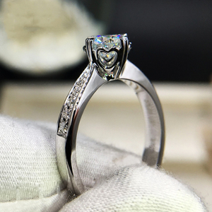 Image 3 - 925 sterling zilver 1ct 2ct 3ct Ronde Briljant Geslepen Ring Diamant Moissanite hartvormige ring Engagement sieraden Anniversary