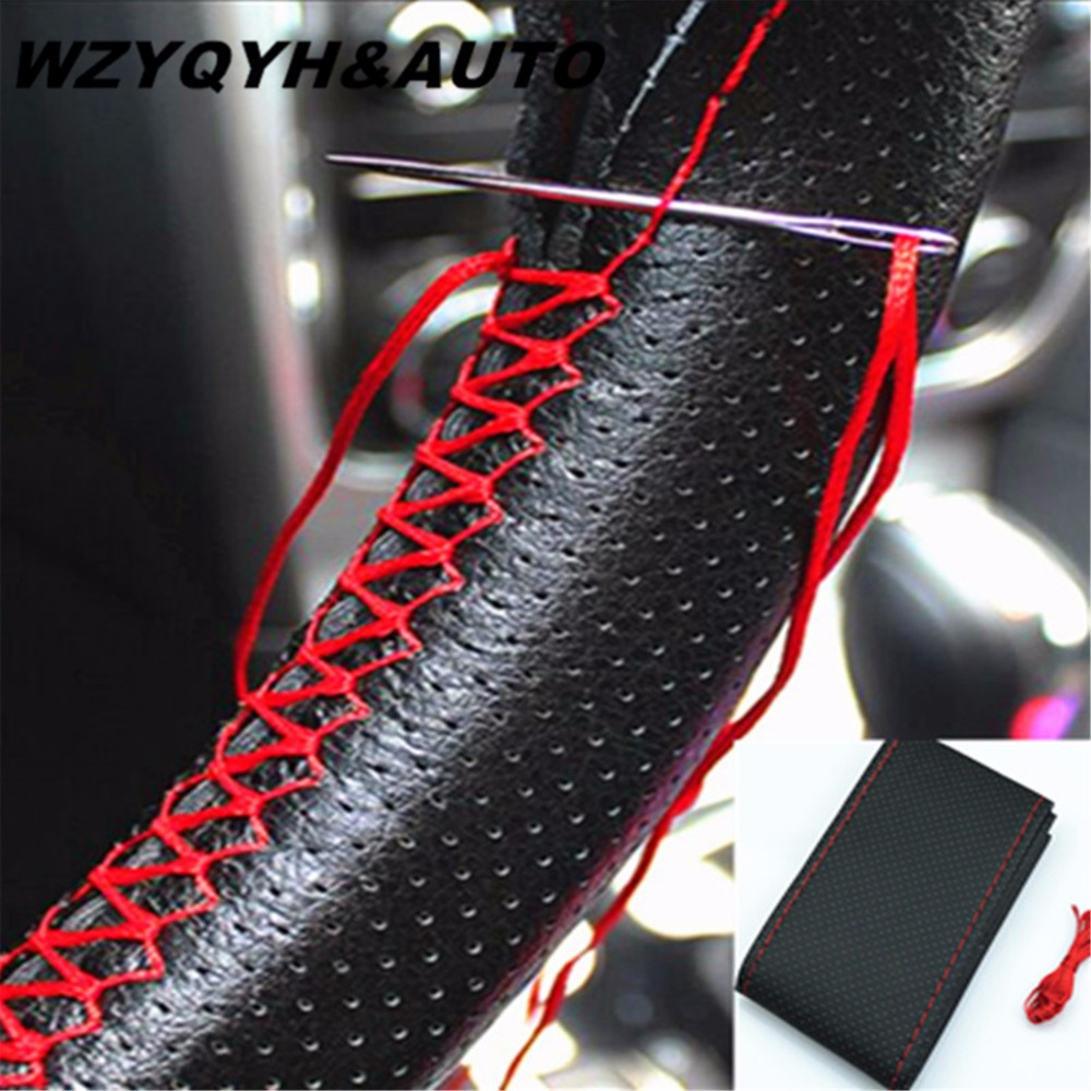 2018 New Universal braid on the steering wheel Sew Microfiber car steering wheel cover to cover the entire single connector 38cm new 38cm genuine leather auto car steering wheel cover soft anti slip car steering cover black braid with needles and thread