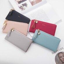 Кожаные женские кошельки с кисточками, роскошные брендовые кошельки, дизайнерский кошелек, длинный милый кошелек на молнии, женский кошелек