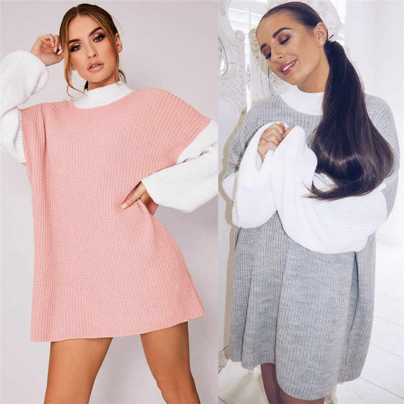 Fashion Women Dress Colorblock Style Round Neck Long Seelve Loose Comfortable Sweatshirt Dress