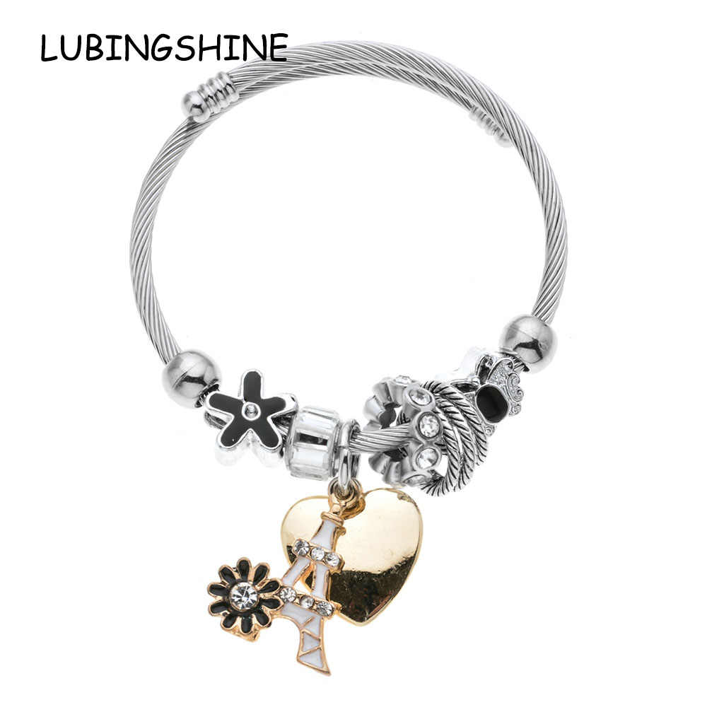 LUBINGSHINE Women Crystal Stainless Steel Cuff Bangles Adjustable Bridal Wedding Charms Bracelets Wristband Gift Bijoux Gift