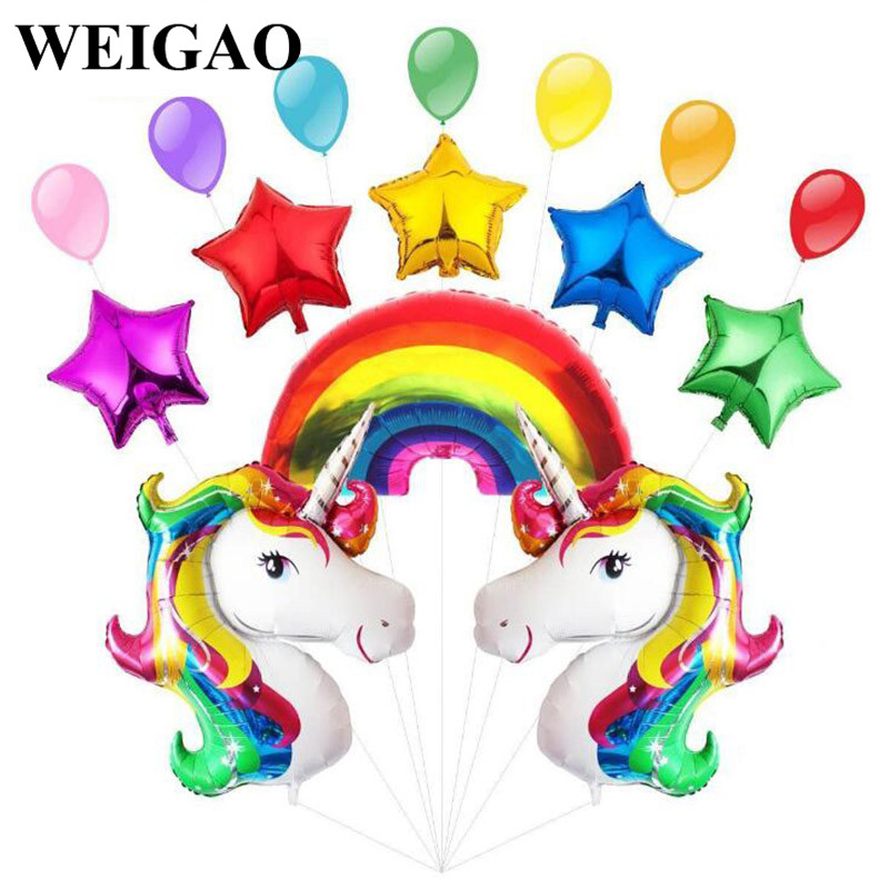 WEIGAO Unicorn Party Cake Toppers Cupcake Wrappers Birthday Party Decoration Baby Shower Supplies Kids Party Gifts Photo Props