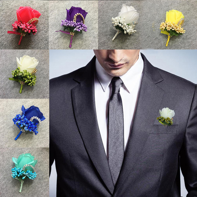 678a258e973a 2018 1PC Men's Groom Pin Brooch Wedding Boutonniere Flowers Suit Corsage  Artificial Foam Rose Flower Corsage