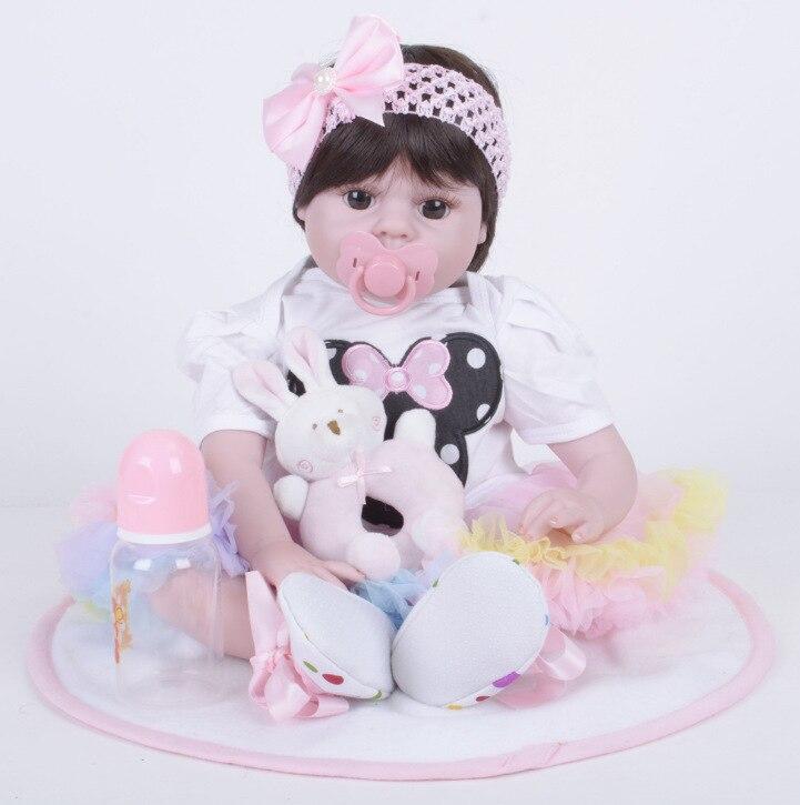 50cm Full Body Silicone Reborn Girl Baby Doll Toy Lifelike Pink Princess Dress Newborn Babies Doll Cute Birthday Gift Bathe Toy цены