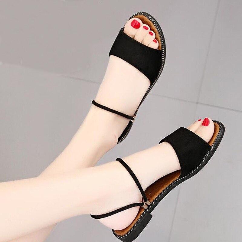 5769841a297aea Casual Chaussures De 35 Sandales 2018 Talon B1224 40 Flops Plage Rond Mode  Flip Avec Noir Plat marron Femmes D'été ...