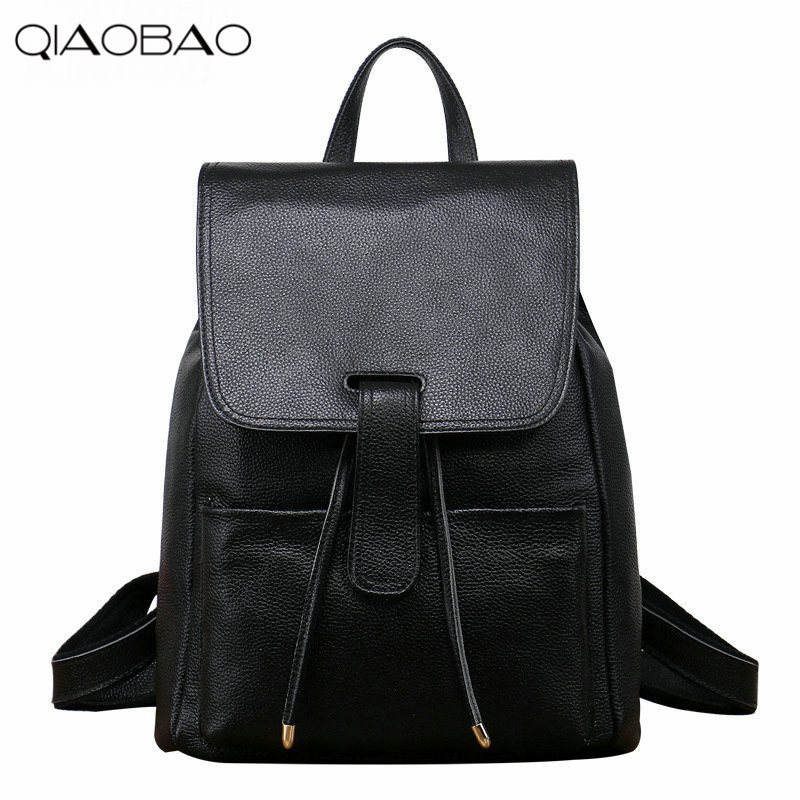 QIAOBAO First Layer Leather Shoulder Bag Female Leather bag Simple European And American Fashion College Trend