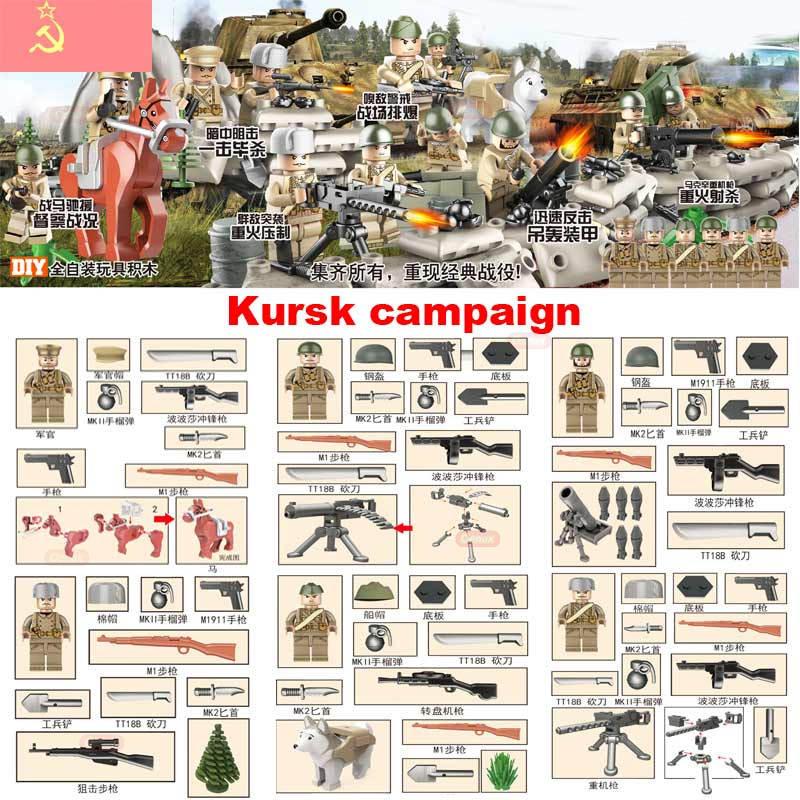 Oenux New WW2 Schlacht von Kursk Militärischer Baustein Kursk Sowjetische Armee Kampagnenfiguren mit Waffen Bücher Modell DIY Ziegel Spielzeug