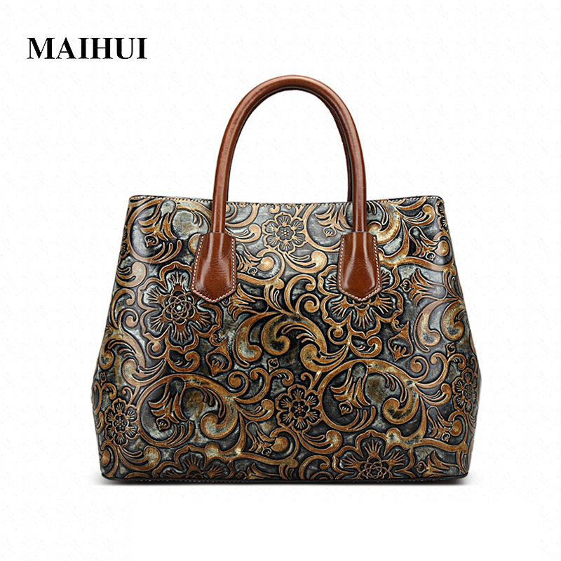 MAIHUI women leather handbags high quality real cow genuine leather shoulder bags new chinese style ladies embossing tote bag women leather handbags high quality real cow genuine leather bags new fashion chinese style floral shoulder bag casual tote bag