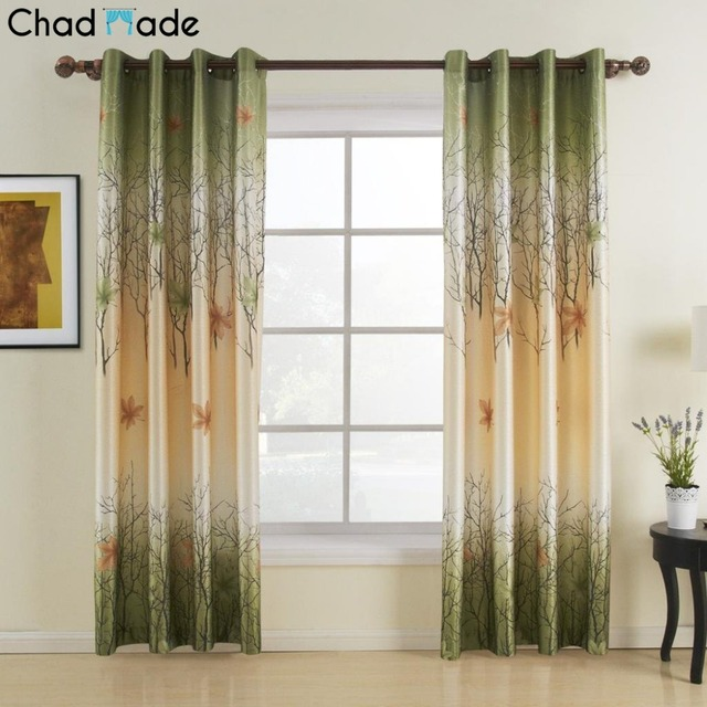 ChadMade Maple Leaf Print Blackout Lined Curtain Drape Antique Bronze Grommet Window For Bedroom