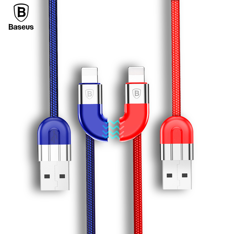 2pcs Baseus Couple Magnetic USB Cable For iPhone X 8 7 6 6s Plus 5 5s iPad Air Mini Fast Data Sync Charging Charger For iPhone ...