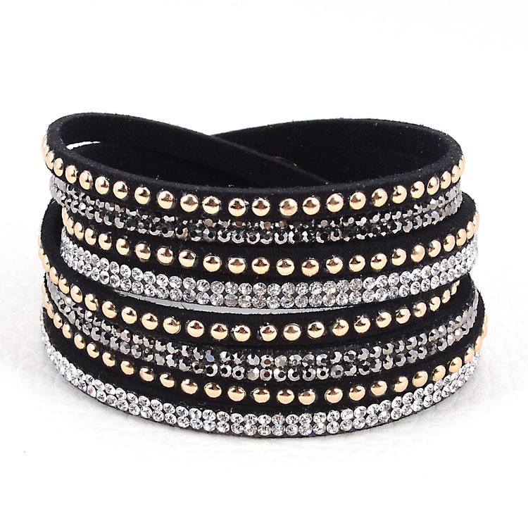Double Wrap Leather Bracelet Crystal Bling Bracelets