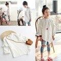 2016 детей девушки осень свитер маленький малыш девушки оборками Корейский топы с длинным рукавом дети девочка футболка повседневная осень одежда