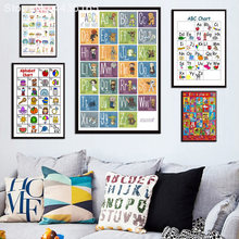 Posters and Prints New Yoga Chart Astanga ABC Alphabet Chart For Child Study English Poster Wall Art Picture Room Decoration(China)