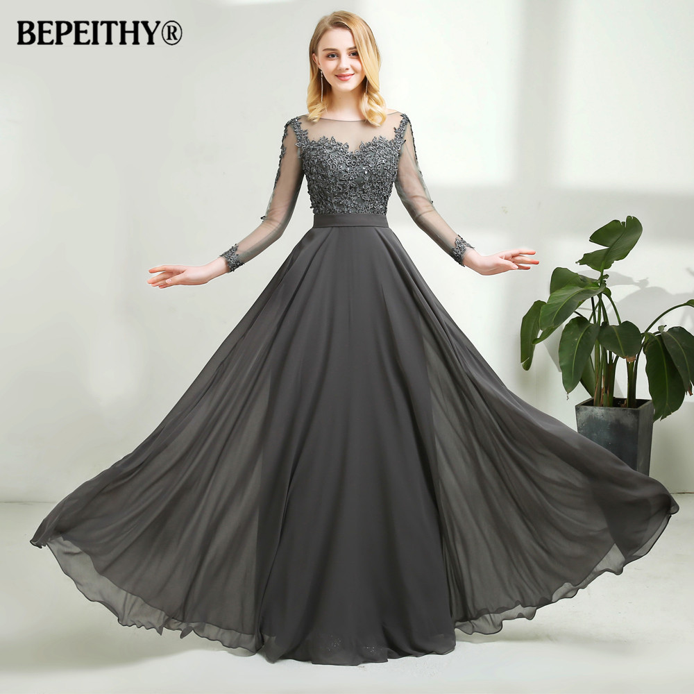 Vestido De Festa Gray Chiffon Long Evening Dress Sexy Open Back Full Sleeves Lace Prom Dresses