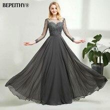 Vestido De Festa Grau Chiffon Lange Abendkleid Sexy Open Back Full Sleeves Spitze Prom Kleider Vestido Longo 2020