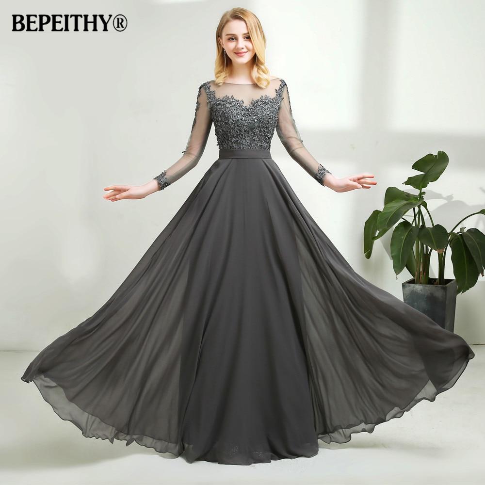 Vestido De Festa Gray Chiffon Long Evening Dress Sexy Open Back Full Sleeves Lace Prom Dresses Vestido Longo 2019