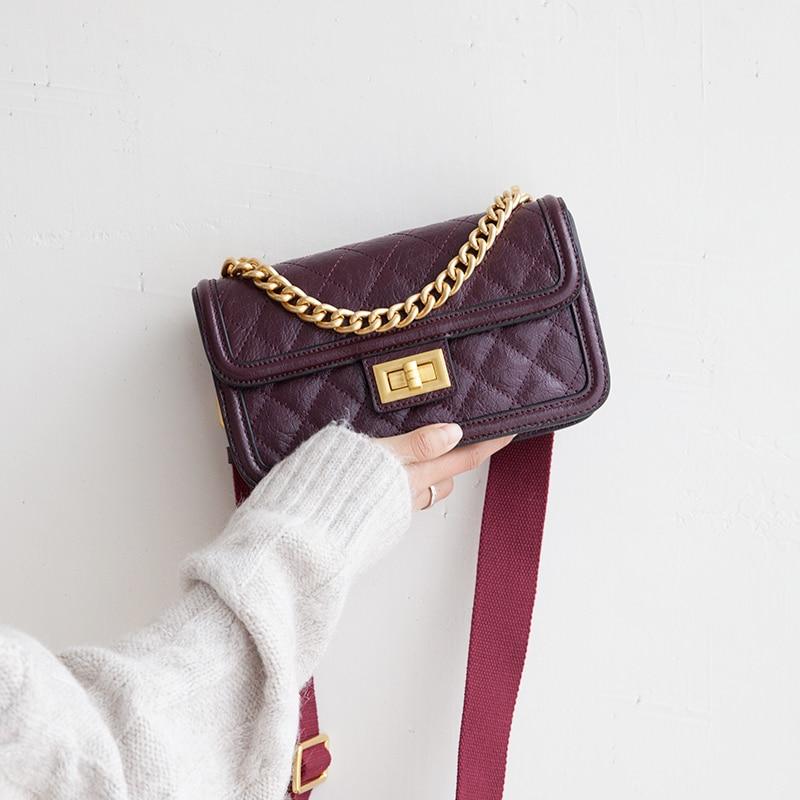 VENOF Fashion chain handbag crossbody bags for Women diamond pattern split leather ladies wide straps shoulder Flap Bag for 2019