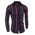 New 2017 Mens Summer  Fashion Classic Slim Fit Plaid Shirt Tops Male Casual Long Sleeve Grid Shirts Clothing SizeM- XXL