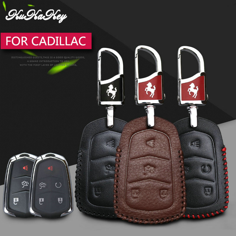 KUKAKEY Leather Car Key Case Fob Cover For Cadillac Escalade ESV CTS ATS 28T CTS-V Coupe SRX Remote Smart Key Bag Holder Shell