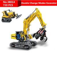 720pcs DIY Two Modes Compatible Legoing Technic Excavator Model Building Blocks Brick Without Motors Set Kids Toys for Children