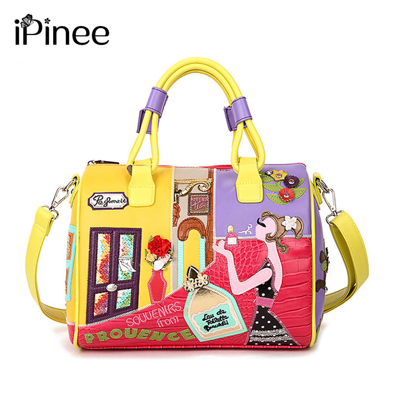 iPinee Candy Color Handbags High Quality Fashion Italian Leather Bags Brand Famous Tote Bag Girl Stylish
