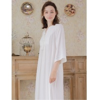 New Autumn Women Cotton Crepe Loose Long Nightgowns Long Sleeve Royal V neck White Sleepwear Home Clothes Plus Size Autumn 18393