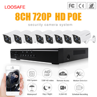 LOOSAFE HD 720P Video POE Network Home Security 8CH 1 0mp POE Outdoor Bullet IP Camera