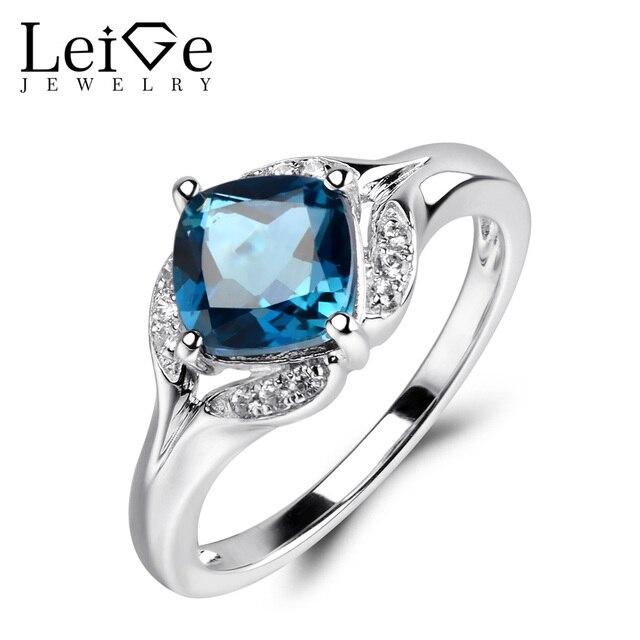 Us 70 2 40 Off Leige Perhiasan London Blue Topaz Cincin 925 Sterling Silver Perhiasan Cushion Cut Biru Gemstone Pernikahan Engagement Rings Untuk