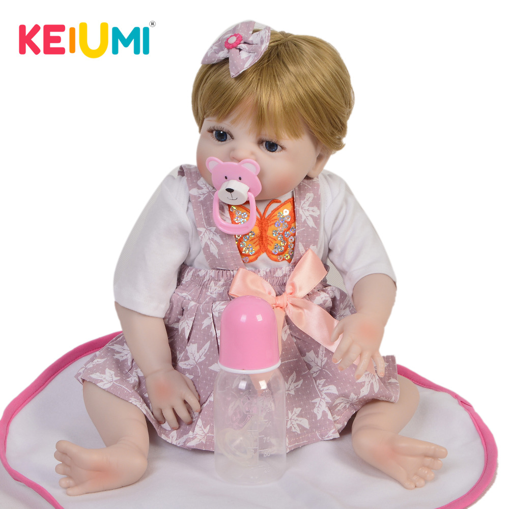 KEIUMI Realistic Newborn Baby Girl Doll Full Silicone Body Lifelike Reborn Dolls For Children Birthday Christmas
